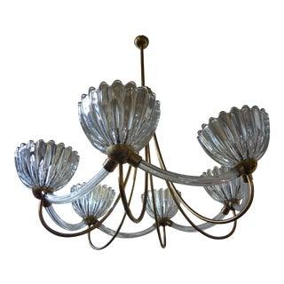 Barovier Italian Murano Glass & Brass Chandelier