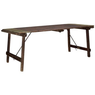 Painted Pine and Iron Trestle Table, circa 1870