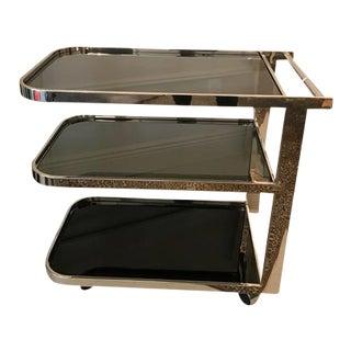 Art Deco Chrome & Smoked Glass Bar Cart
