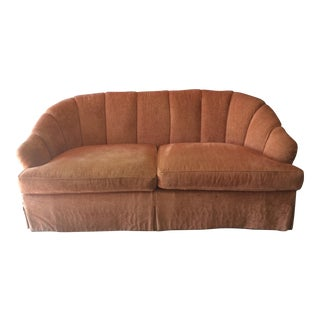 EJ Victor Curved Shell Form Paneled Chenille Sofa
