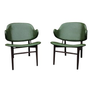 Olive Green & Dark Walnut Lounge Chairs - a Pair