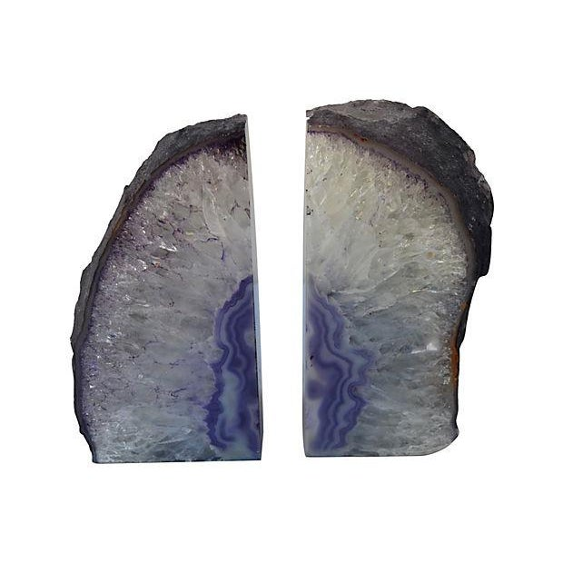Lavender geode bookends pair chairish - Geode bookends ...