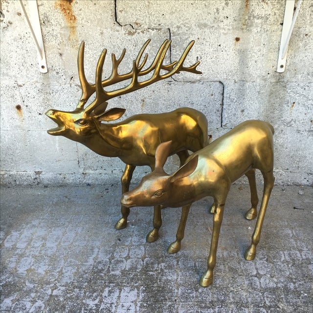 Hollywood Regency 2.4' Tall Brass Elk Couple - Image 8 of 9