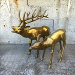 Image of Hollywood Regency 2.4' Tall Brass Elk Couple