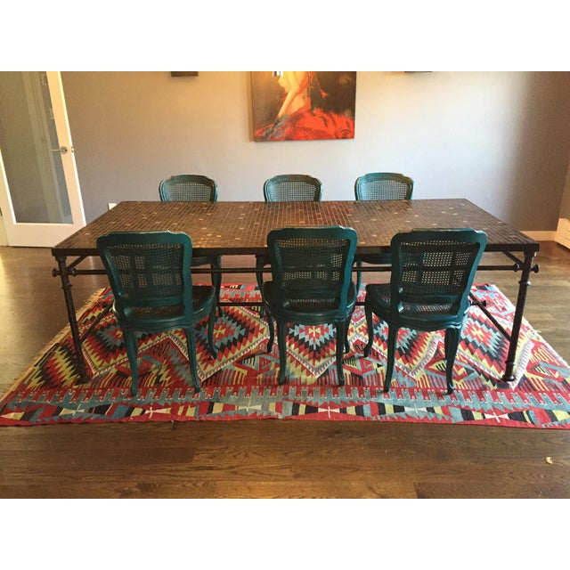 Iron & Mosaic Dining Set - Table & 6 Chairs - Image 2 of 8