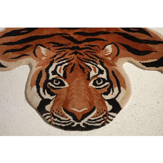 Vintage Wool Tiger Rug - Image 3 of 6