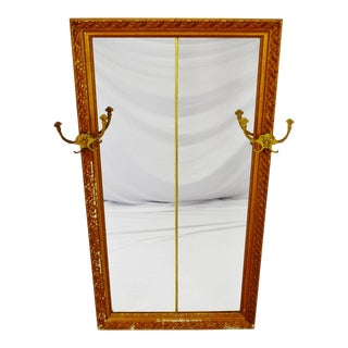 Early Distressed Gilt Gesso Framed Coat Rack Wall Mirror