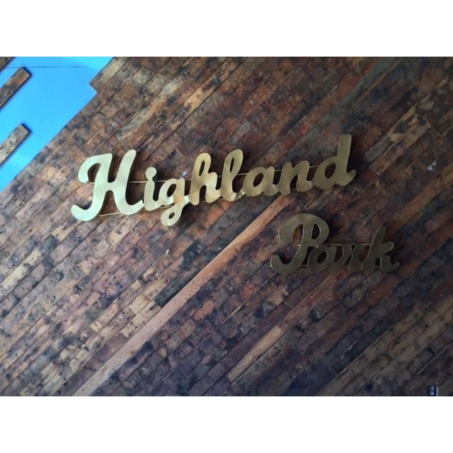 Industrial Gold Highland Park Metal Sign - Image 2 of 4