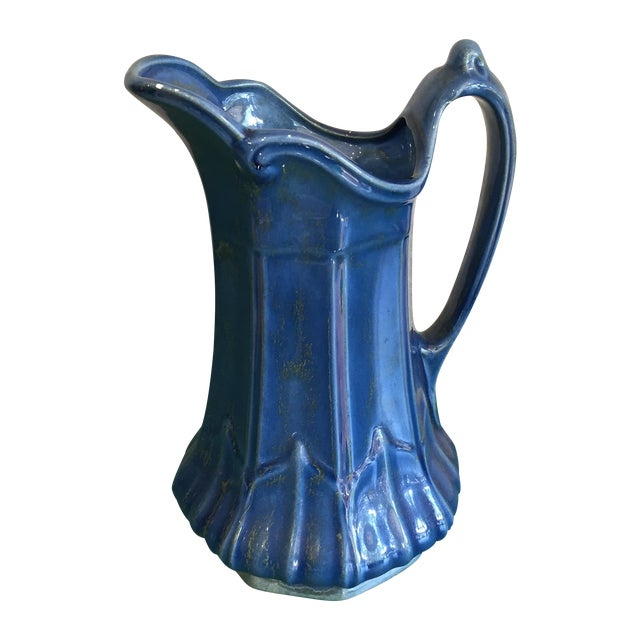 Image of Mid Century Blue Pitcher