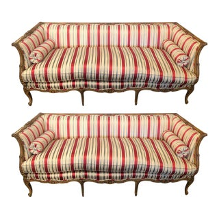 Lewis Mittman Inc Louis XV Style Carved Silk Upholstered Sofas/Couches - a Pair