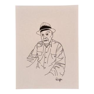 """""""Mon grand-père fume la pipe"""" Drawing"""