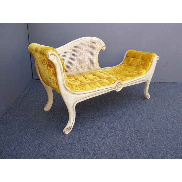French Provincial White Cane & Gold Velvet Bench Settee - Image 4 of 11