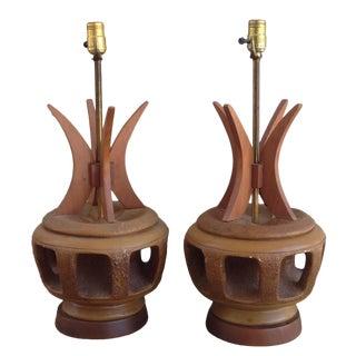 Rare Mid Century Plasto Co. Pair Lamp