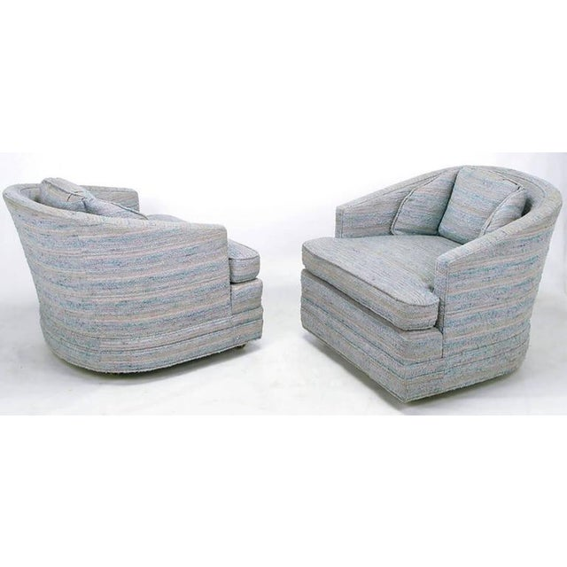 Pair of Knapp & Tubbs Barrel Chairs in Original Blue Upholstery - Image 4 of 9