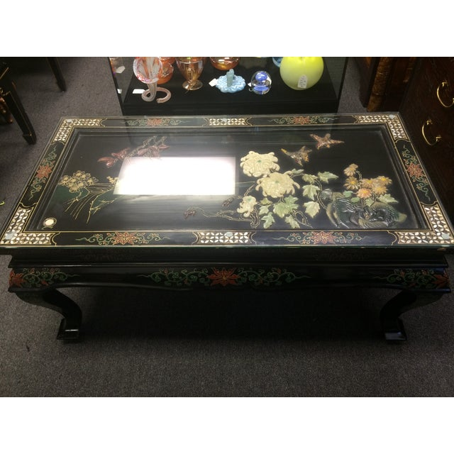 Asian Black Lacquer Embossed Jade Coffee Table