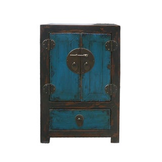 Chinese Black & Blue Lacquer End Table Nightstand