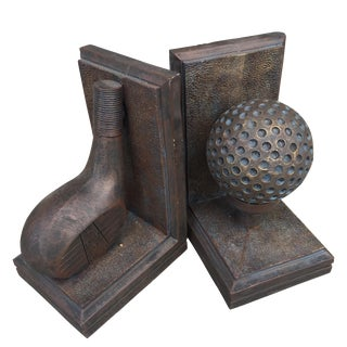 Bronze Finish Golf Bookends - A Pair