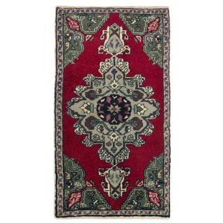 Vintage Turkish Floral Yastik Carpet - 1′7″ × 2′11″