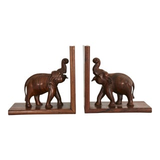 Wooden Elephant Bookends - Pair