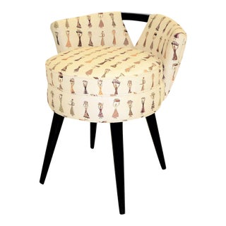 1940s Paul Frankl Modern Swivel Stool for Johnson Furniture Retailer John Stuart