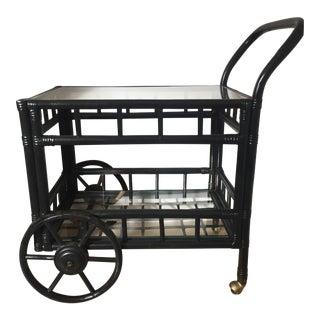 Vintage Bamboo Rattan Bar Cart