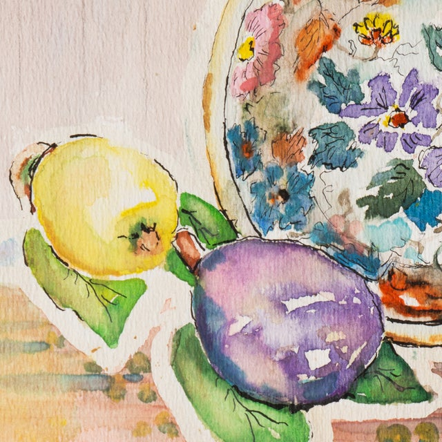 Image of Plate & Fruit by Vera Indenbaum, 1984 Painting