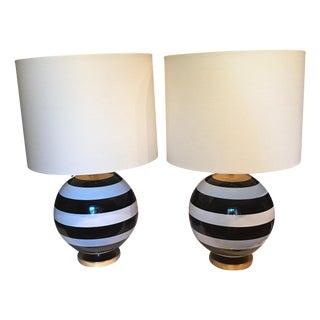 Kate Spade Black & White Striped Pedestal Globe Table Lamp - A Pair