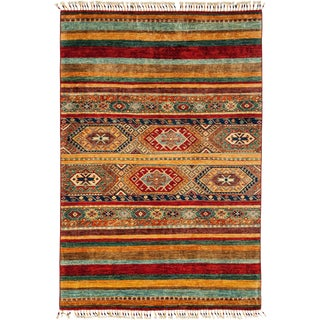 New Tribal Hand Knotted Area Rug - 4' x 5'10""