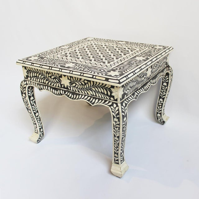 bone inlay coffee table side table chairish. Black Bedroom Furniture Sets. Home Design Ideas