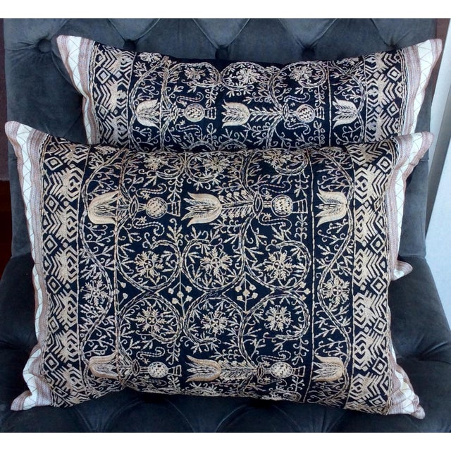 Embroidered Handwoven Silk Pillows - A Pair - Image 2 of 6