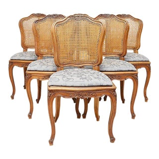 French Country Caned Dining Chairs, Set of 6