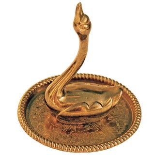 Gilt-Plated Swan Ring Dish
