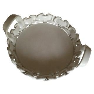 Italian White Lattice Ceramic Pottery Tray