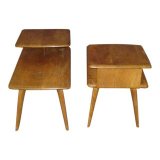 Haywood Wakefield 2-Tier Maple End Tables - A Pair