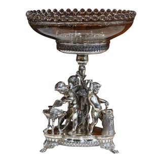 19th Century French Silverplated Surtout With Crystal Bowl