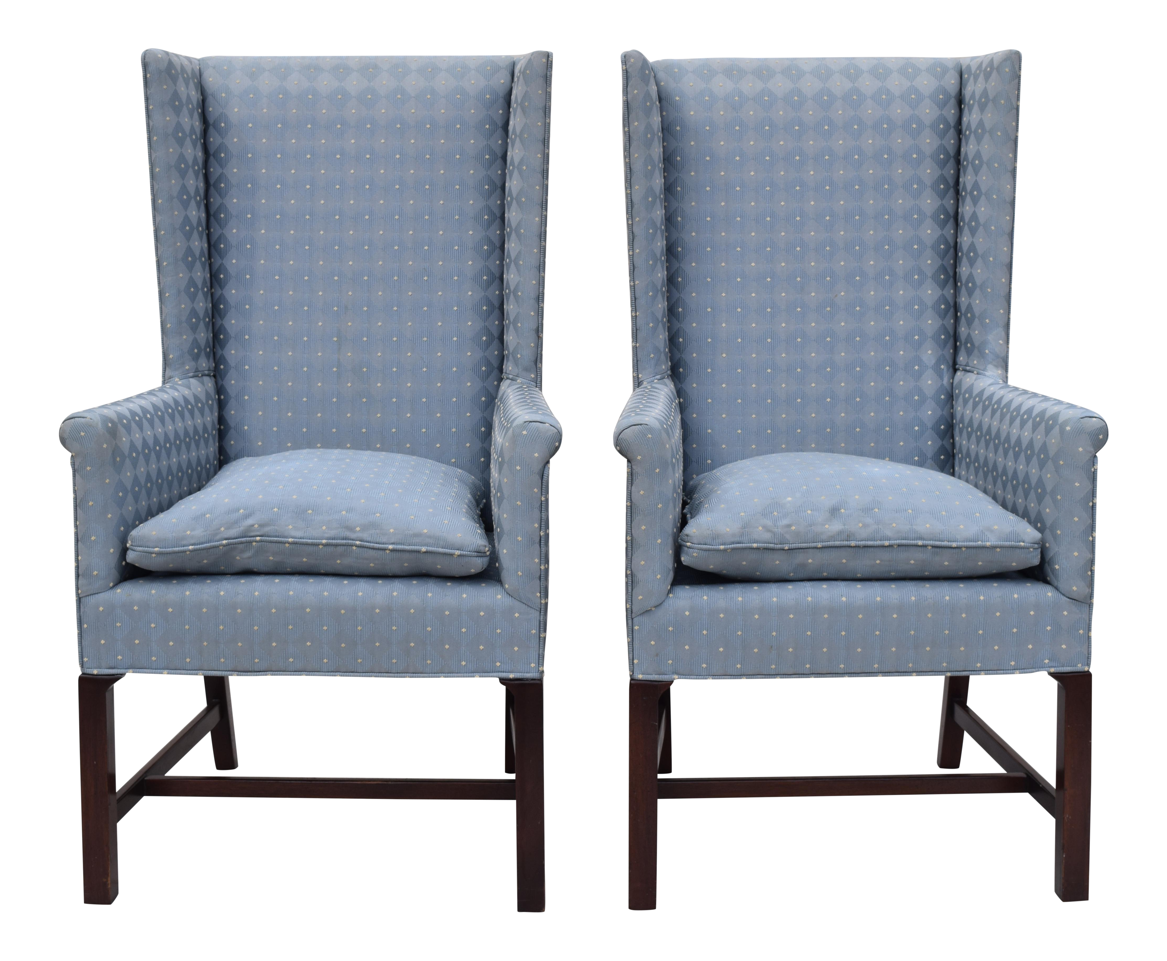 hickory wing back chairs a pair