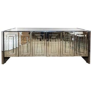 Fabulous Ello Six-Door Mirrored Credenza with Chrome Trim