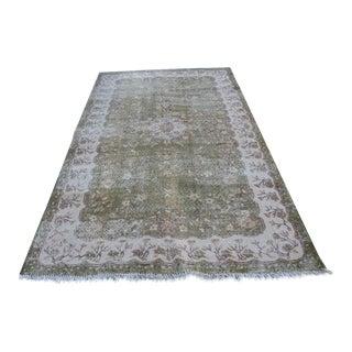 Turkish Handmade Anatolian Oushak Green Carpet - 5′4″ × 8′6″