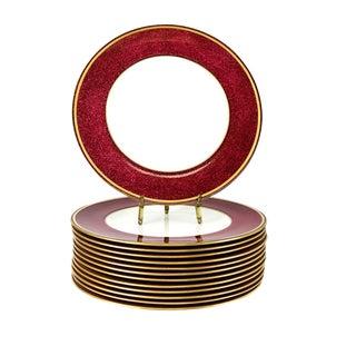 """C 1960 Wedgwood Porcelain 10.5"""" Dinner Plates in Swinburne Ruby - Set of 14"""
