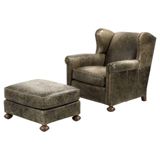 Regency Style Green Leather Club Chair and Ottoman