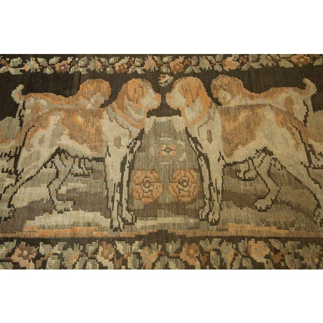 Russian Brown Kilim with Dogs - Image 2 of 6
