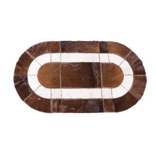 """Handmade Cowhide Patchwork Area Oval Rug - 6'7""""x3'7"""""""