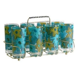 Mid-Century Aqua Floral Glasses w/Caddy - Set of 8