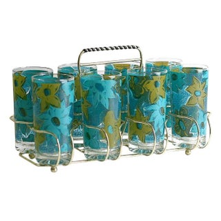 Mid-Century Aqua Floral Glasses w/Caddy - Set of 8