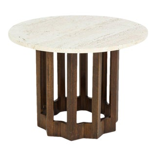 Harvey Probber Round Travertine and Walnut Side Table, Usa 1960s