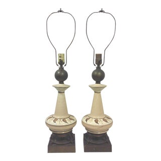 Gilded Beige Ceramic Hand Painted Foliate Lamps - A Pair