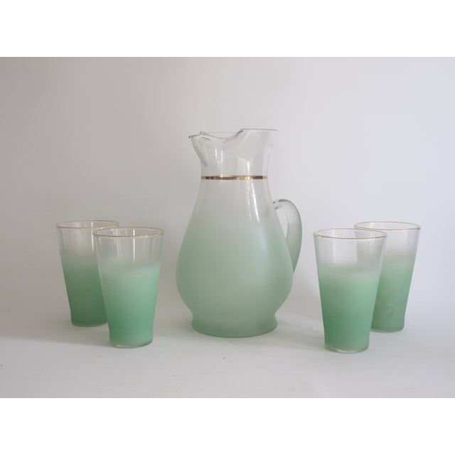 Green Glass Entertaining Pitcher & Glasses - Set of 5 - Image 3 of 6