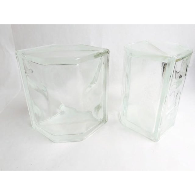 Vintage Glass Block Geometric Bookends - A Pair - Image 4 of 8