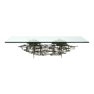 Daniel Gluck Sculptural Brutalist Bronze Coffee Table with Large Glass Top