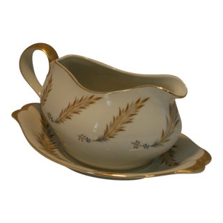 Eva Zeisel for Meito Norleans China Gravy Boat With Underplate